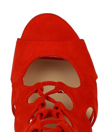 Breckelles Bk04 Sandalias De Gamuza Con Cordones Y Tacón De Aguja De Ante Con Cordones Para Mujer - Cerezo