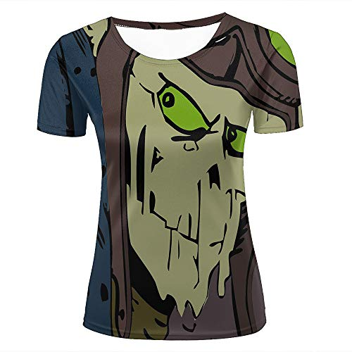 (Womens 3D T Shirts Cartoon Funny Green Face Monster Short Sleeve Fashion Couple Crew Neck Tee Tops XXL)