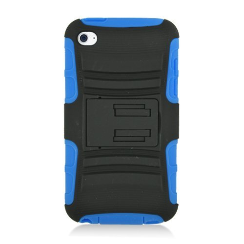iSee Case Hybrid Faceplate Hard Plastic Protector Snap On Skin Cover Case With Stand For Apple Ipod Touch 4 - Blue/Black