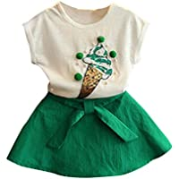 FEITONG Kids Little Girls Clothes, Cute Girls Romper Tops+ Bow Solid Skirt Outfits Set Clothes
