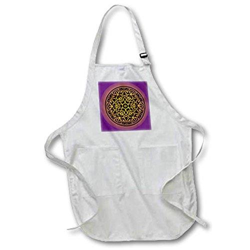 3dRose Sven Herkenrath Art - Intricate Islamic Ornament Vector Black on Purple Background - BLACK Full Length Apron with Pockets 22w x 30l (apr_281671_4) by 3dRose