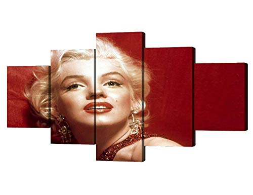Yatsen Bridge Artwork Vintage Picture Sexy Red Lips Marilyn Monroe Close-Up Wall Decor Stretched and Framed 5 Piece Canvas Wall Art for Home Living Room Bedroom Decoration(50''Wx24''H)