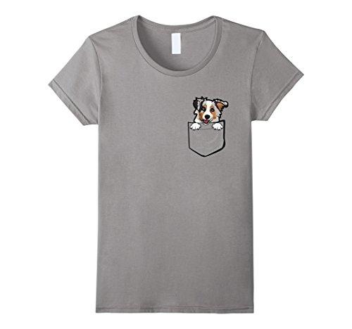 Womens Adorable Little Australian Shepherd In The Pocket T-shirt Medium Slate
