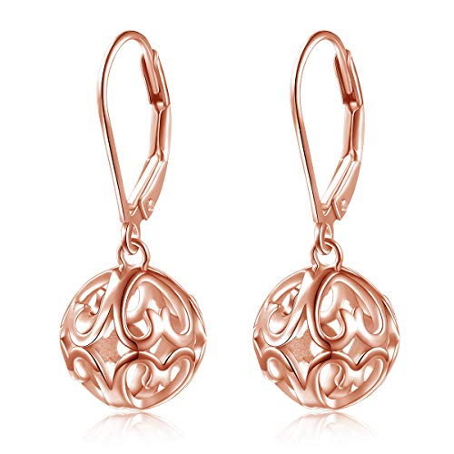 S925 Sterling Silver Heart Round Ball Dangle Drop Leverback Cage Filigree Earrings for Women Little Girl Mother Sister Wife Rose Golden ()
