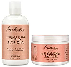Shea Moisture Coconut and Hibiscus Combination Pack – Curl & Style Milk 8 Fl Oz & Curl Enhancing Smoothie, 12 Oz