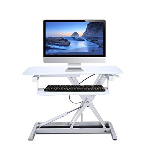 (Holarose Standing Desk Sit-Stand Desk Converter for Laptop - Black Single Top Height Adjustable Monitor Laptop Riser Platform Station - Sit to Stand Up Desktop Table Riser (White))