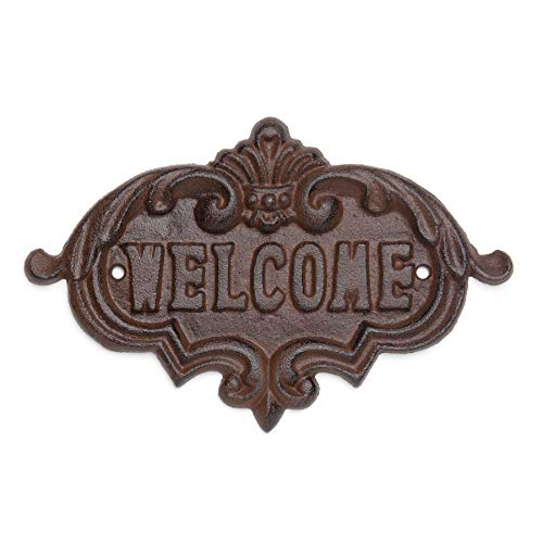 (Antique Replica Welcome Plaque Rustic Cast Iron Sign 8.25-Inches x 5.38-Inches x 0.38-Inches Decorative Welcome Wall Plaque with Vintage Design for a Door Gate Entrance Used Indoor or Outdoor CI157)