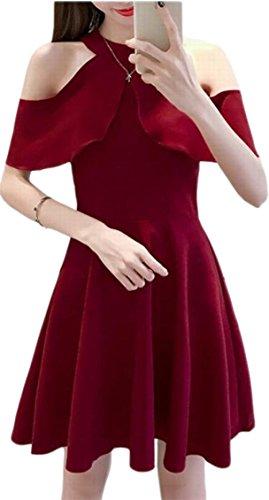 Accept Jaycargogo Elegant Neck Color Line Dress Mid Waist Pure A Scoop Waist Womens Wine Red rSwXSqB