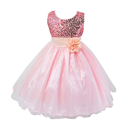 Weixinbuy Kids Girls Sequin Bowknot Sleeveless Summer Wedding Party Dress Pink 7-8Y