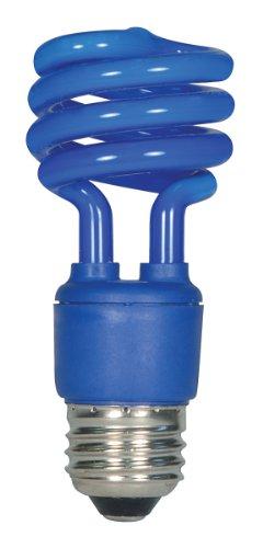 (Satco S7273 13 Watt (60 Watt) Mini Spiral Color CFL Light Bulb, Blue)