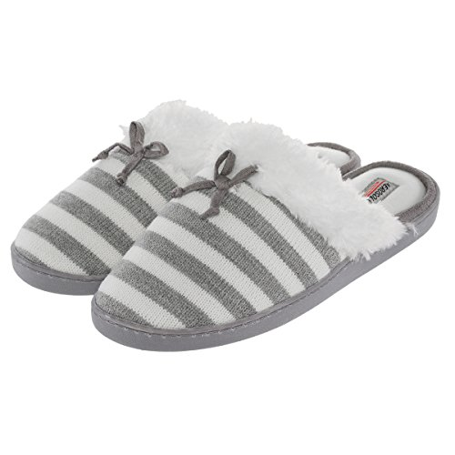 Aerosoles Comfy Cushioned House Slippers For Women, Mule Clogs, Warm & Soft Indoor Or Outdoor Shoes, Gray & White Stripe, L Fits Shoe 8-9 (Aerosol Warm Gray)