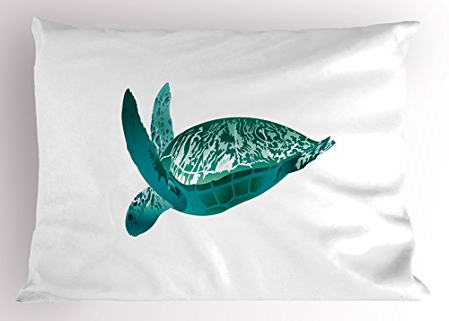 Lunarable Turtle Pillow Sham, Tropical Climate Animal Hawaii Fauna Underwater Diving Aqua Reptile, Decorative Standard King Size Printed Pillowcase, 36 X 20 Inches, Jade Green Pale Sea Green by Lunarable