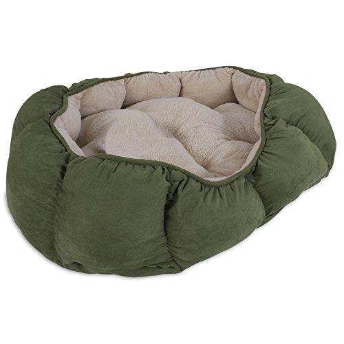 Aspen Pet Overstuffed Oval Bed, 34 x 27, Assorted Navy Blue/Burgundy/Dark (Oval Four)