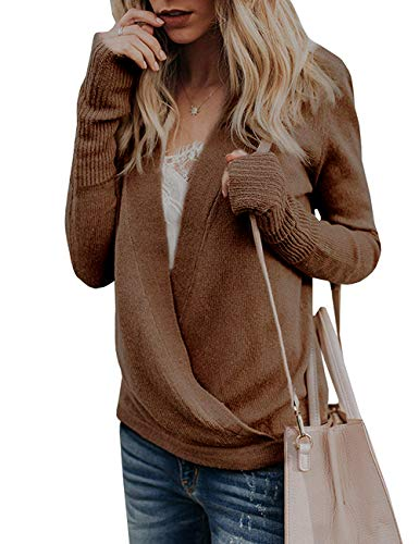(softome Womens Knitted Deep V-Neck Long Sleeve Wrap Front Loose Sweater Pullover Jumper Tops)
