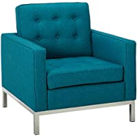 Modway EEI-2050-TEA Loft Upholstered Fabric Mid-Century Modern Accent Arm Lounge Chair Teal