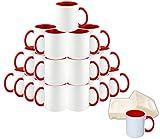 Mug 36-Piece Double Sublimation Coated Ceramic Mugs, 11 Oz, Blank White, Black & Red MUG-Case-36-Red