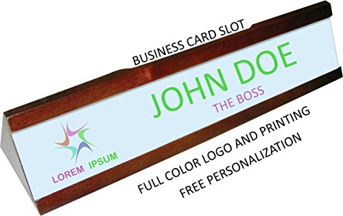 Business Full Cards Colour (Personalized Mahogany Full Color Desk Plate and Business Card Holder - Add Your Logo/Name/Title)