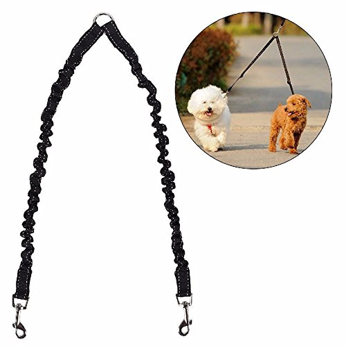 STGOOD No Tangle Pet Leash Double Dog Leash Coupler Walker Training Leash for Small Medium Dog - Two Dogs Leash Splitter Dog Trainer Leash (Black) (Tangle Splitter)