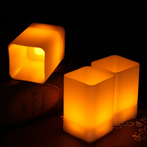Halloween Decoration Lights, LifeGenius 2.2 Inch Square Amber Yellow Flashing LED Flameless Candles Battery Operated Long Lasting Electric Candle Lights, 12 Pack (Non Stop For Halloween 2017)