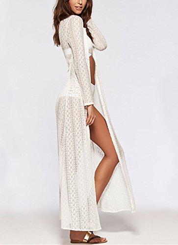 Bikini Robe Femme Peach Florale de Kaftan Plage Dentelle L Et Maillot de Crochet Cover blanc Paro Longue Bain pour Up B nqvx55YdF