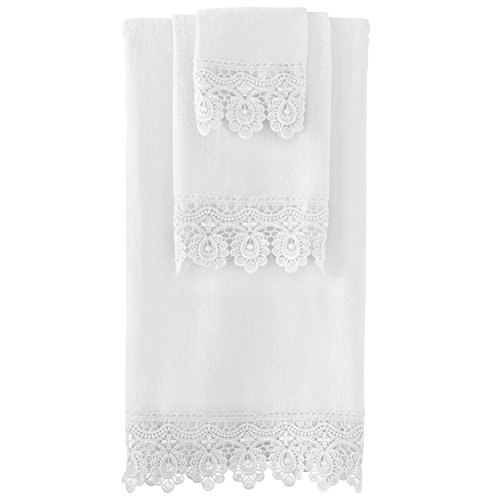 Lace Guest Towels - Collections Etc Lace Trim Bath Towel Set, White