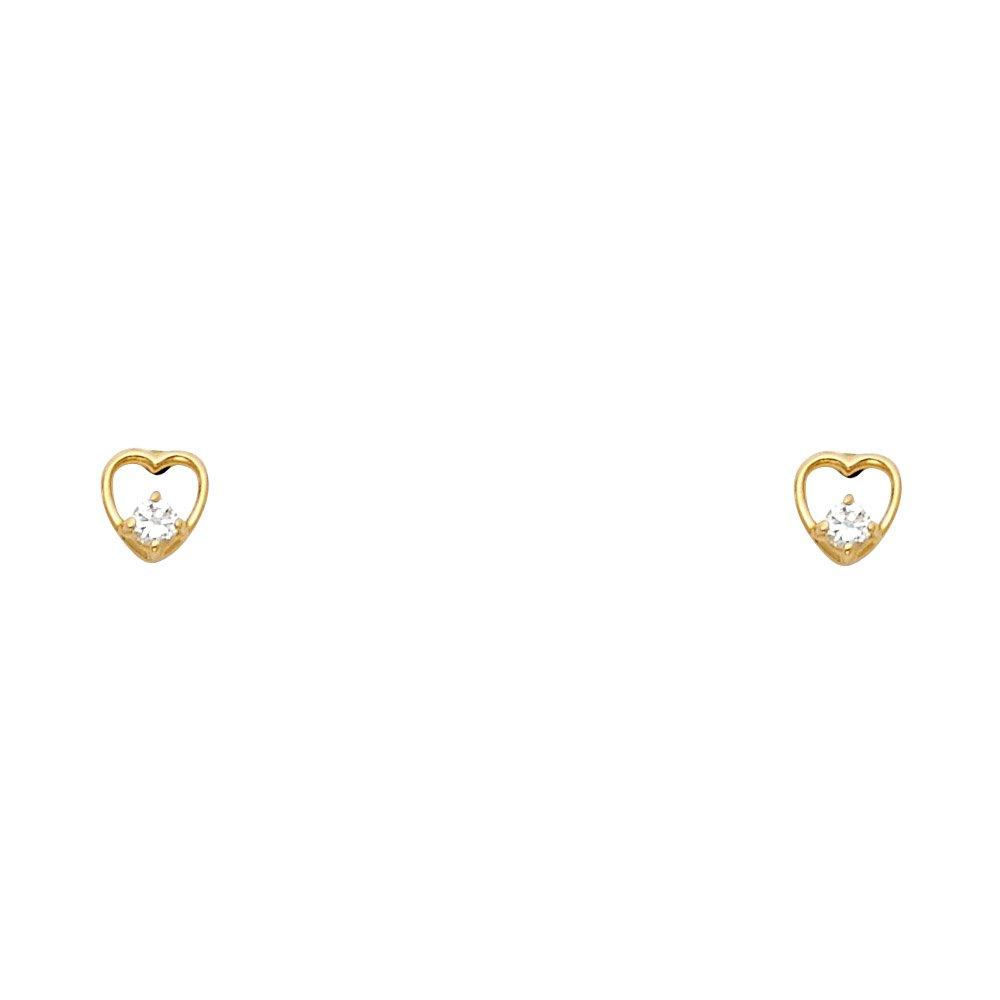 Wellingsale 14K Yellow Gold Polished Heart Stud Earrings With Screw Back