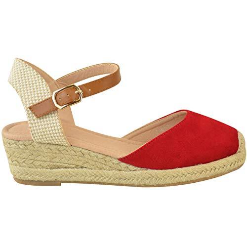 Sandalias Zapatos Heelberry Tiras Tacón Ante Por De Baja Cuña Artificial Verano Fashion Rojo Alpargatas Mujer Thirsty Nuevo Talla qg6wvx8WXA