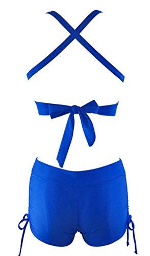 American Trends Women Halter Two Piece Boyshort Bikini V Neck Swimsuit Athletic Sporty Swimwear Push up Bathing Suit