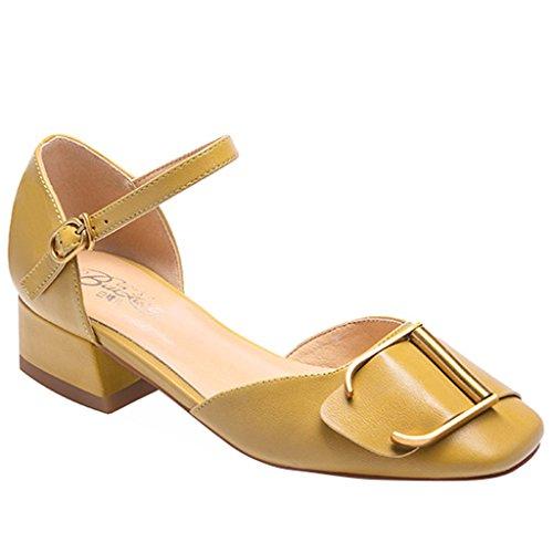 Hebilla Cuadrada Sandalias Baotou Verano Femenino de Espesor con Hebilla de Tacón bajo con Zapatos Salvajes de Las Mujeres Amarillo