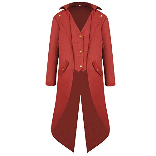 Retro Tuxedo Jackets,HULKAY Premium Men's Coat Fashion Long Sleeve Jacket Gothic Frock Coat Costume Party Outerwear(Red,4XL) (Smith Overalls Cotton)