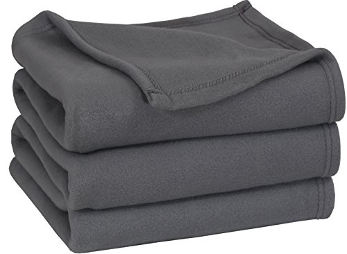 Polar Fleece Blanket (Queen, Grey) - Extra Soft Brush Fabric, Super Warm Bed Blanket, Lightweight Couch Blanket, Easy Care - by Utopia Bedding