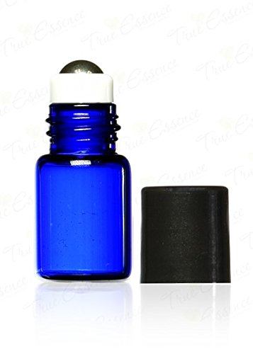 True Essence 2 ml, (5/8 Dram) Cobalt Blue Glass Micro Mini Roll-on Glass Bottles with Metal Roller Balls - Refillable Aromatherapy Essential Oil Roll On (12)