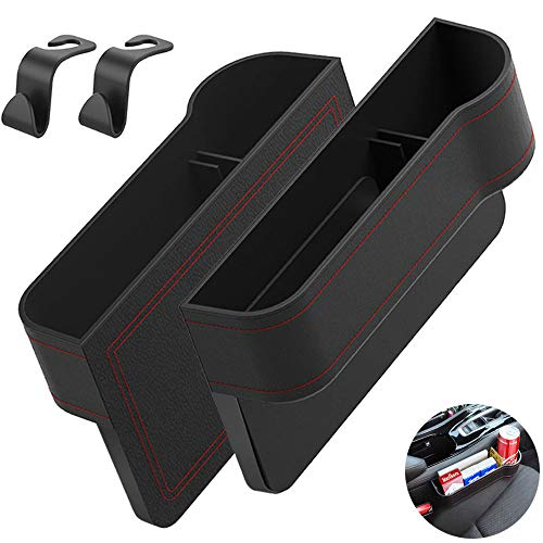 Car Seat Gap Filler Organizer - 2 Pack PU Leather Car Side Seat Storage Pocket with 2 Car Seat Hooks, Multifunctional Car Seat Storage Box for Sunglass, Key