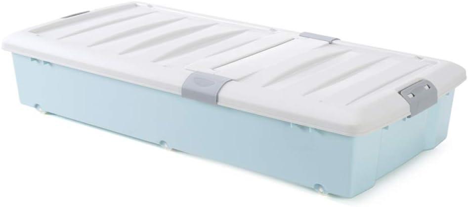 QXTT Grandes Cajas De Almacenamiento De Plástico Debajo De La Cama Cofre con Ruedas con Tapas Espesar La Bolsa De Ropa Organizador Contenedor para Ropa De Cama Libro Merienda,Blue: Amazon.es: Hogar