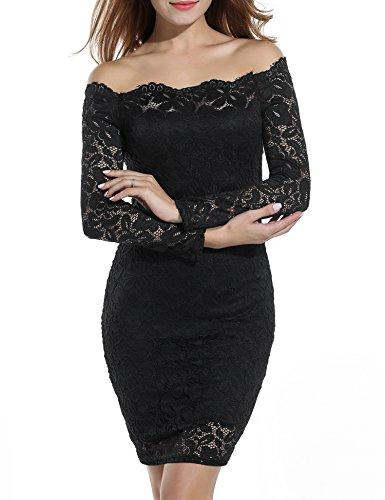 ACEVOG Women's Off Shoulder Lace Dress Long Sleeve Bodycon Casual Dresses (XXX-Large, Black)