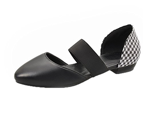 VogueZone009 Women Solid Pu Low-Heels Pull-On Closed-Toe Sandals Black