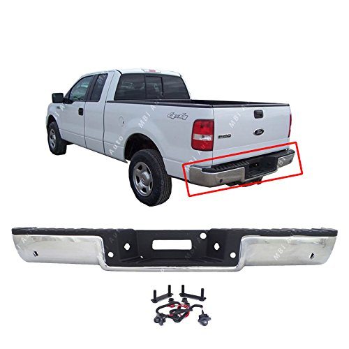 MBI AUTO - Steel Chrome, Rear Bumper Face Bar & Step Pad for 2006 2007 2008 Ford F150 w/Park, FO1103138