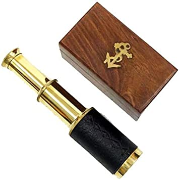 "Pirate Navigation 6/"" Handheld Brass Telescope with Wooden Box"
