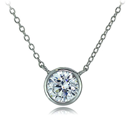 Hoops & Loops Sterling Silver Bezel-Set Cubic Zirconia Round Solitare Necklace