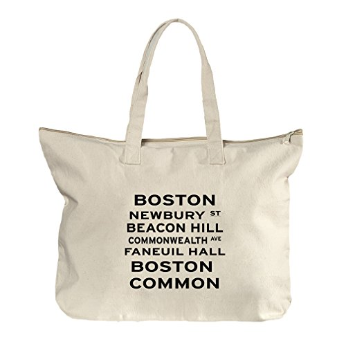 Boston Newbury St Canvas Beach Zipper Tote Bag - Shopping Newbury