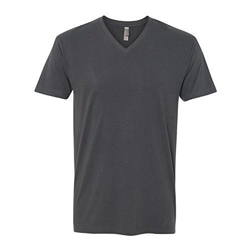 Next Level Apparel 6440 Mens Premium Fitted Sueded V-Neck Tee - Heavy Metal, Medium