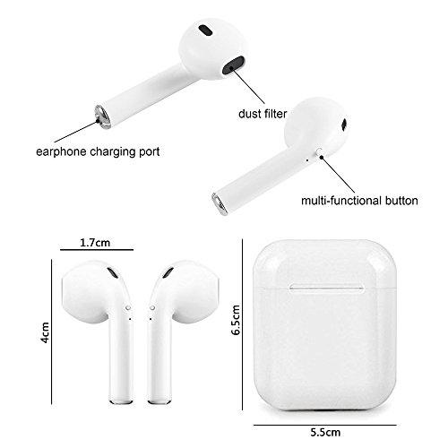 Auricular Bluetooth, i8-TWS Auriculares inalámbricos estéreo binaural de reducción de Ruido inalámbrica con Caja de Carga para iPhone Samsung iPad: ...