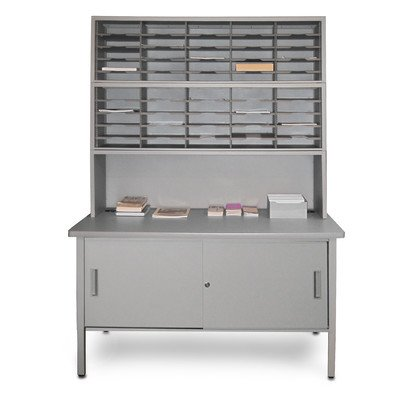 50 Adjustable Slot Literature Organizer with Riser and Cabinet Color: Gray Textured Steel/Gray Laminate Surface by Marvel