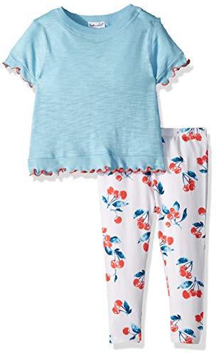 Splendid Baby Girls Cherry Print Legging Set, Sky Blue 18/24 mo