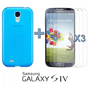 OnlineBestDigital - Colourful Transparent Gel Case for Samsung Galaxy S4 IV I9500 / I9505 - Blue with 3 Screen Protectors