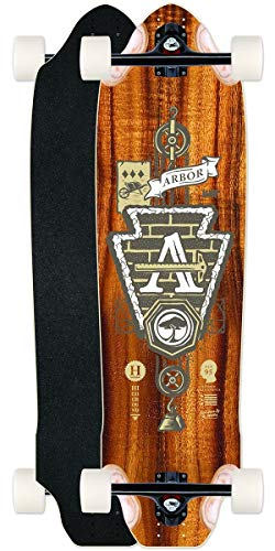 "Fireball Arbor x Supply Co. Longboard Skateboards (Various Models) (Highground (36"") - Nautical - Arbor White Translucent Wheels - Downhill, Complete)"