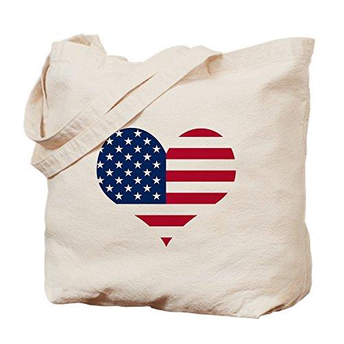 CafePress - American Heart - Natural Canvas Tote Bag, Cloth Shopping Bag