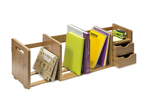 Bamboo Wood Desk Organizer Rack with Two Drawers, Three Expandable Book or File Compartments, Adjustable, for Home or Office, by IDK Luxury