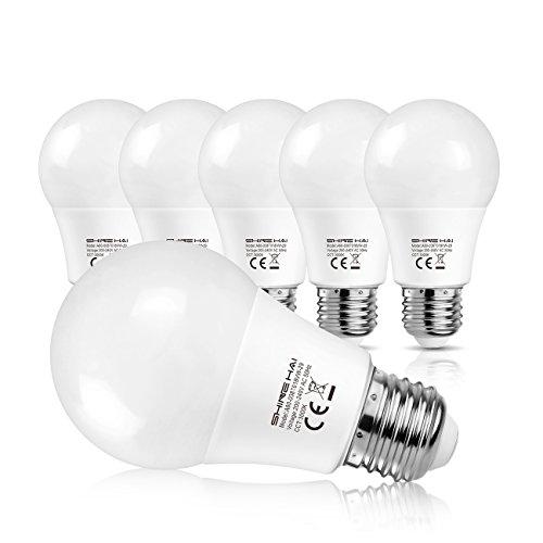 SHINE HAI E27 LED Lampe ersetzt 60W, Warmweiss 3000K LED Leuchtmittel, 8W LED Birne, 800lm LED Rundstrahler, 6er Pack