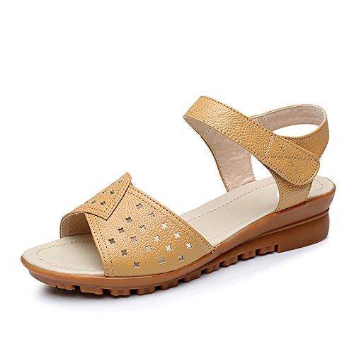 De Con Sandalias Mujeres Zapatos Cuero Las Planas Brown 6zXwR